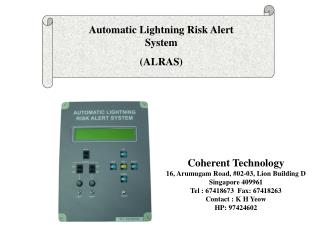 Automatic Lightning Risk Alert System  (ALRAS)