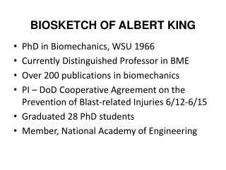 BIOSKETCH OF ALBERT KING