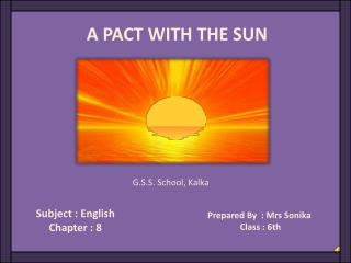 Subject : English Chapter : 8