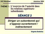 L exercice de l autorit  dans les relations sup rieurs-subordonn s