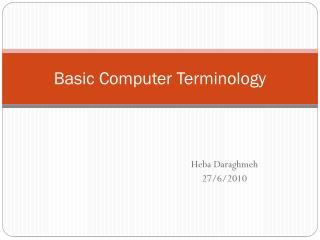 definitions of basic terms connected with computers