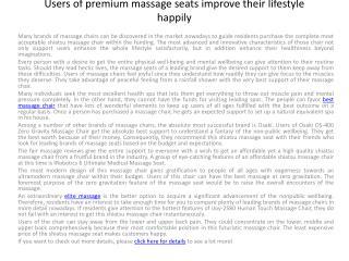 Users of premium massage seats improve their lifestyle