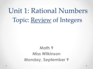 Unit 1: Rational Numbers