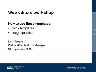 Web editors workshop