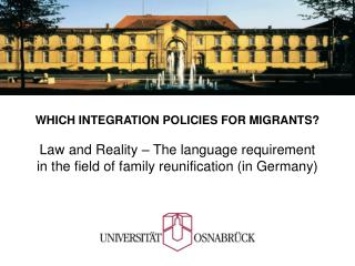 WHICH INTEGRATION POLICIES FOR MIGRANTS?