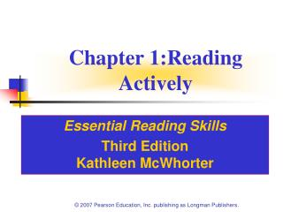 Chapter 1:Reading Actively