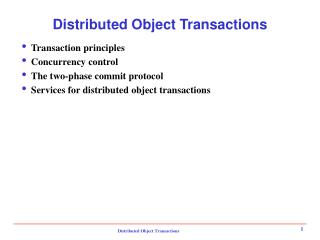 Distributed Object Transactions