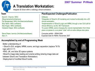 A Translation Workstation: Integrate 3D Slicer within a radiology clinical workstation.