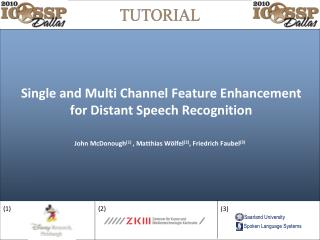 Single and Multi Channel Feature Enhancement for Distant Speech Recognition