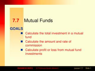 7.7 	Mutual Funds