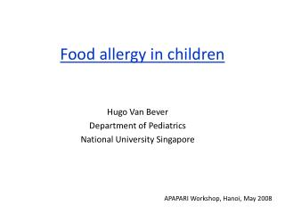 Food allergy in children