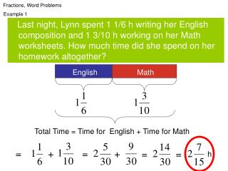 Fractions, Word Problems