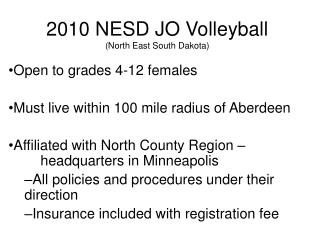 2010 NESD JO Volleyball North East South Dakota