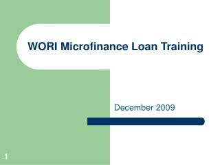 WORI Microfinance Loan Training