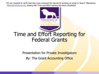 Time and Effort Reporting for Federal Grants