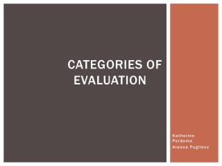 Categories of evaluation