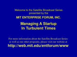 Welcome to the Satellite Broadcast Series presented by the