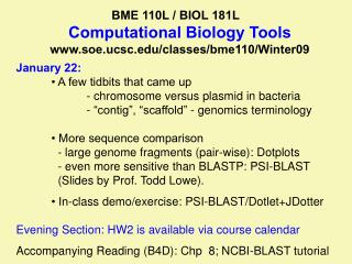 BME 110L / BIOL 181L         Computational Biology Tools