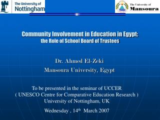 Community Involvement in Education in Egypt:  the Role of School Board of Trustees