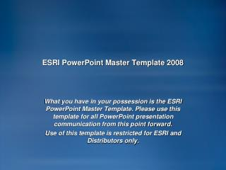 ESRI PowerPoint Master Template 2008