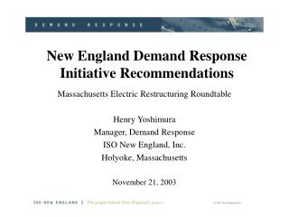 New England Demand Response Initiative Recommendations