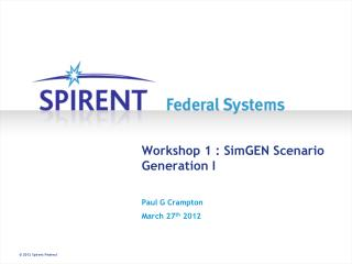 Workshop 1 : SimGEN Scenario Generation I
