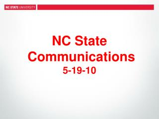 NC State  Communications 5-19-10