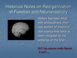 Historical Notes on Reorganization of Function and Neuroplasticity