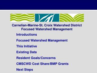 Carnelian-Marine-St. Croix Watershed District Focused Watershed Management