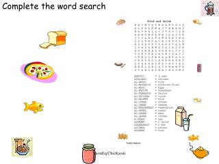Complete the word search
