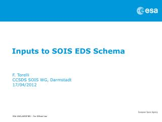 Inputs to SOIS EDS Schema