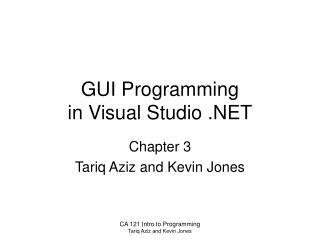 GUI Programming in Visual Studio .NET