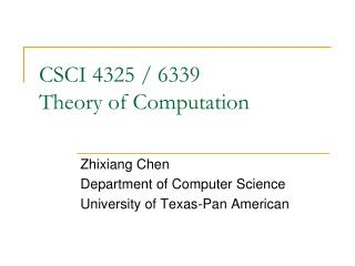 CSCI 4325 / 6339 Theory of Computation