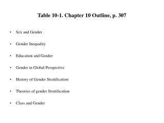 Table 10-1. Chapter 10 Outline, p. 307