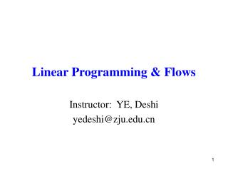 Linear Programming & Flows