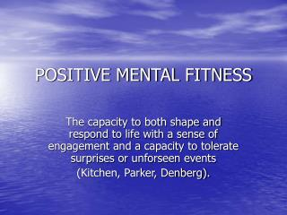 POSITIVE MENTAL FITNESS