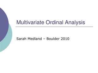 Multivariate Ordinal Analysis