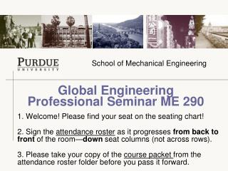 Global Engineering  Professional Seminar ME 290