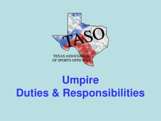 Umpire Duties & Responsibilities
