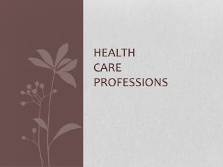 Health  care  professions