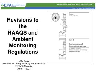 Revisions to the  NAAQS and Ambient Monitoring Regulations