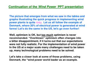 Continuation of the  Wind Power   PPT presentation