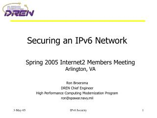 Securing an IPv6 Network