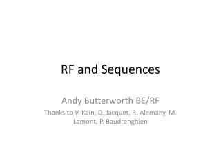 RF and Sequences