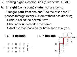 Naming organic compounds (rules of the IUPAC) Straight  (continuous)  chain  hydrocarbons: