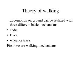 Theory of walking