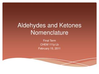 Aldehydes and Ketones Nomenclature