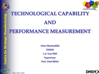 TECHNOLOGICAL CAPABILITY  AND  PERFORMANCE MEASUREMENT Alina Shamsuddin DMEM 1 st. Year PhD