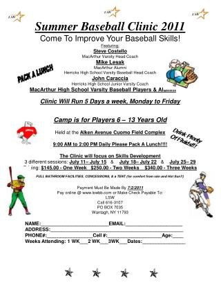 Summer Baseball Clinic 2011 Come To Improve Your Baseball Skills! Featuring: Steve Costello