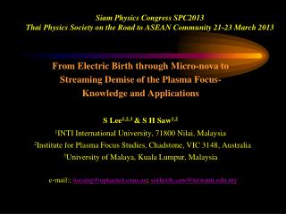 Siam Physics Congress SPC2013 Thai Physics Society on the Road to ASEAN Community 21-23 March 2013